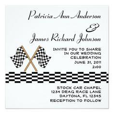 Sports Wedding Invitations Checkered Flag Racing Fan Wedding Invitation