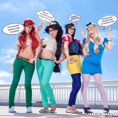 Love this!!! From Comic-con 2012. Princess Hipsters!! I am soo doing this for Halloween!!! Any takers want to do it with me?!-Ashley b.