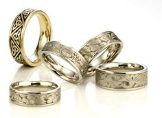 Artistic #5: Collage Trinity oxidized, Cherry Blossom, Zen Garden styled wedding rings.