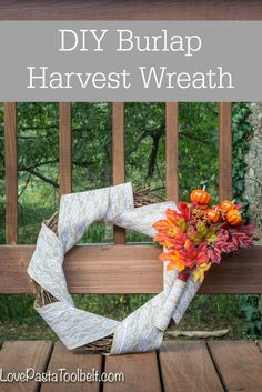 Get ready for fall with this DIY Burlap Harvest Wreath!- Love, Pasta and a Tool…