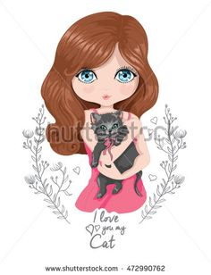 Girl vector/cat vector/t-shirt print