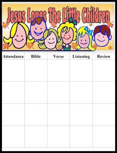 Free sunday school attendance forms attendance chart sunday
