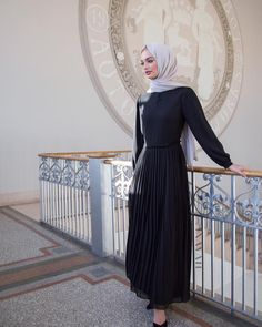 INAYAH | Black Pleat Skirt #Maxi + Feather Grey Rayon #Hijab www.inayah.co