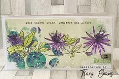 """Passion Flower card using Tracy Evans Border Stamp """"Passion Flower"""" from AALLandCreate Gel Press, My Flower, Flowers, Passion Flower, Ink Stamps, 8th Of March, Flower Cards, Greeting Cards Handmade, Diy Cards"""