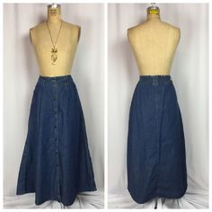 Vintage 80's Bugle Boy For Her Bohemian Style Button Down Denim Maxi Skirt. 10  | eBay