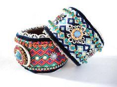 Bohemian hippie bracelet - rhinestone friendship bracelet cuff in shades of turquoise blue - tribal style