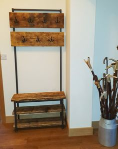 Steel & Reclaimed Scaffold Board Industrial Look Hallway Stand / Coat Stand / Shoe Rack Halle, Hall Coat Rack, Hall Stand, Scaffold Boards, Hallway Furniture, H & M Home, Coat Stands, Reclaimed Timber, Scaffolding