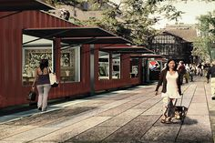 Designers Propose Mobile Art Market On Abandoned Paris Railway — Design News (Apartment Therapy Main) Container Buildings, Container Architecture, Pop Up Market, Art Market, Halle, Architecture Design, Container Cafe, Container Conversions, Grand Paris