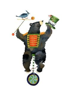Bear on a unicycle illustration print 8x11 by ChasingtheCrayon, $19.00  So much fun!!!