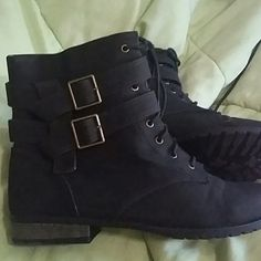 Michael Antonio boots Black suede over the ankle boots. 1 inch heel height. Adjustable buckle straps for style. Side zip closure. Has a small rip and scrape on the left foot boot right side. Michael Antonio Shoes Combat & Moto Boots