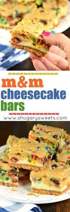 These M&M cheesecake bars have a sweet graham cracker crust, creamy cheesecake filling and a chocolate chip cookie dough packed with M&Ms on top!