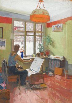Viktor Popkov (Russian, 1932-1974), Winter Studio, 1959. Gouache on card, 106 x 74 cm.
