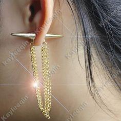 Gold False Ear Plug Double Spike Tassels Chain Ear Stud Earrings eBay