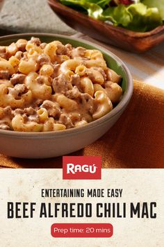 Celebrate National Chili Day with this creamy twist on a family favorite Beef Alfredo Chili Mac. A mac and cheese dish with ground beef chili pepper and RAGÚ Classic Alfredo Sauce. Its a quick and easy recipe! Cheese Dishes, Beef Dishes, Pasta Dishes, Food Dishes, Main Dishes, Chili Burger, Chili Chili, Chili Mac Recipe, Paula Deen