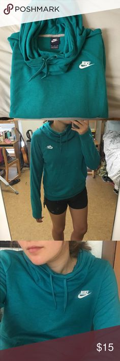 Nike fleece hoodie Comfy fleece pull-over with cowl neck. Good for working out or lounging. A fun and flattering teal. Worn once. Nike Sweaters Cowl & Turtlenecks