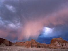 Storm Approaches Tohachi Canyon, Navajo Indian Reservation, Painted Desert, Arizona Photographic Print