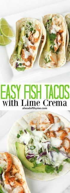 Easy Fish Tacos with Lime Crema: When lime and cilantro come together with fish,., Fish Tacos with Lime Crema: When lime and cilantro come together with fish, a mouthful of exquisite flavour is born. Try these easy fish tacos wi. Fish Dishes, Seafood Dishes, Seafood Recipes, Mexican Food Recipes, New Recipes, Cooking Recipes, Favorite Recipes, Healthy Recipes, Recipies