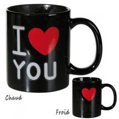Mug Thermoréactif I Love You sur Logeekdesign.com I Love You, Cadeau St Valentin, Magic, Tableware, Gift Ideas, Birthday, Weddings, Te Amo, Dinnerware