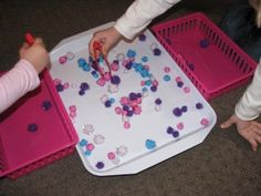 fine motor races: put small objects on a tray for 2 or more children to put in their baskets using fingers or tools as fast as they can. At the end have them count their objects