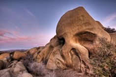 Skull Rock at Joshua Tree National Park in California makes a spooky visit to this California National Park.