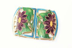 An antique Art Nouveau two part buckle which has green and blue flowers champleve cloisonne enamelling on it and which I think possibly dates from around the 1900s Art Nouveau period. | eBay!