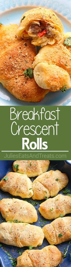 Breakfast Crescent Rolls ~ Easy Crescent Rolls Breakfast Recipe for Filled with Sausage, Peppers, Egg and Cheese Filling! Plus, it's a Freezer Breakfast Recipe! via @julieseats