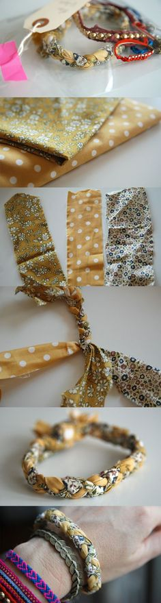 Réalisez un joli bracelet en tissu DIY. A offri. Remains of fabric in stock ? Make a nice DIY fabric bracelet. To offer or to offer according to your desires. Bracelets Liberty, Fabric Bracelets, Fabric Jewelry, Beaded Bracelets, Jewelry Crafts, Handmade Jewelry, Armband Diy, Couture Sewing, Diy Schmuck