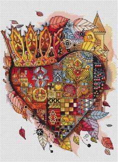 Cross Stitch Heart, Cute Cross Stitch, Cross Stitch Kits, Cross Stitching, Cross Stitch Embroidery, Embroidery Patterns, Modern Cross Stitch Patterns, Cross Stitch Designs, Fantasy Cross Stitch
