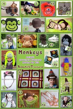 Monkey Hats & Accessories - Animal Crochet Pattern Roundup including 22 free and for sale patterns via @beckastreasures
