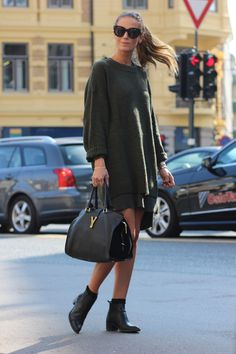 oversized knit military green sweater from H&M, dress from Camilla Pihl By Bianco and the boots and the bag is from Saint Laurent