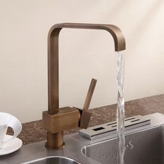 Relia Single Lever Antique Brass Kitchen Sink Mixer Tap - Kitchen Taps - Taps