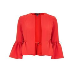 Topshop Crop Frill Jacket (1,100 MXN) ❤ liked on Polyvore featuring outerwear, jackets, red ruffle jacket, red cropped jacket, red jacket, topshop jackets and ruffle jacket