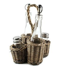 Take a look at this Wicker, Bottle & Shaker Set by Blossom Bucket on #zulily today!
