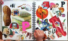een letterboek met plaatjes. Kinderen kunnen deze aanvullen, misschien ook open zetten op de lettertafel bij de aangeboden letter