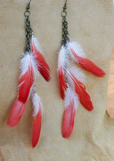 African Grey Parrot Feather Earrings by WiyakaRoad on Etsy, $15.00