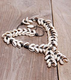 White & Black Shell & Wooden Necklace