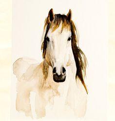 Watercolor horse, original on Etsy