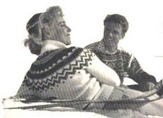 Scene from the Norwegian film Troll i ord, 1954, where all actors are wearing sweaters from Unn Søiland Design and Production. A Danish female star is wearing the Eskimo sweater and Marius Eriksen who is wearing a dark blue Marius sweater with white shoulders.