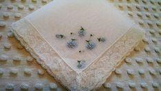 Vintage Hankie embroidered with blue & yellow daisies - Wedding Hankie