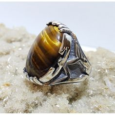Tiger Eye Gemstone Silver Ring #silver #men #ring #handmade #ottoman #antique #naturale #fashion #new #desing #ruby #turquoise #agat #gemstone #jewelry #jewellers #jewel