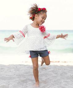 Ivory Crochet Amanda Tunic & Indigo Shorts - Toddler & Girls