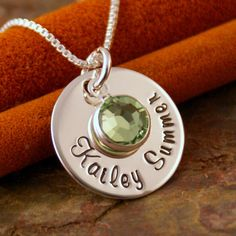 Hand Stamped Mommy Jewelry - Personalized Sterling Silver Necklace - Name Tag with Birthstone (First and middle name). $34.00, via Etsy.
