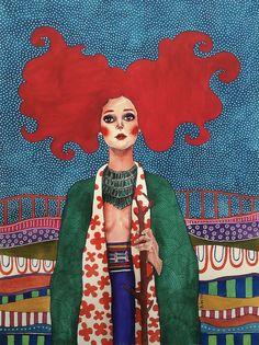 Pinzellades al món: Dones il·lustrades per Hülya Özdemir / Mujeres ilustradas / Women illustrated by Hülya Özdemir Art And Illustration, Illustrations And Posters, Watercolor Illustration, Arte Fashion, Arte Pop, Art Plastique, Portrait Art, Portraits, Female Art