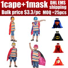 Hot sale capemask kids superhero costume baby superhero capes set for boys girls birthday Party supplies heroes costumes gift  EUR 3.15  Meer informatie  #aliexpress