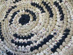 Rag Rug Round Handmade Crochet Shabby Primitive Accent Rug Beige and Navy Bed Bath Kitchen by wishandwantcrochet on Etsy