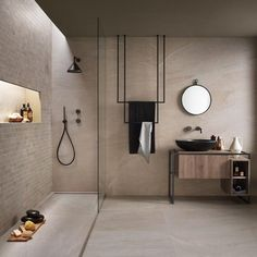 Bad Inspiration, Bathroom Inspiration, Modern Bathroom, Small Bathroom, Beige Bathroom, Bathroom Sinks, Stone Bathroom, Light Bathroom, Concrete Bathroom
