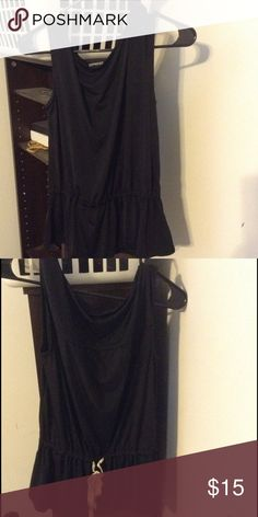 Express Black Tank w/ Gold Tie Like new condition, worn 1-2 times. Adjustable tie on back to add to shape of shirt. Very soft and silky material. Tops Tank Tops