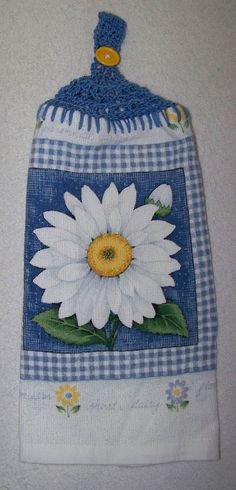 Kitchen Towel Set, Crochet Trim, Hanging Towels, Pot