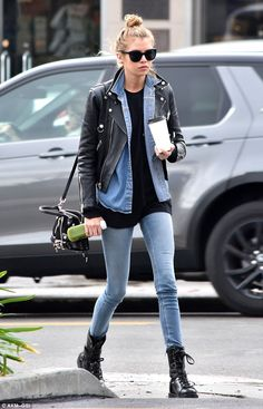 Stella Maxwell looks hipster chic in leather and denim on outing #dailymail