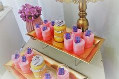 Yummy desserts from a pink and purple themed Baby Shower dessert buffet. The mousse and mini naked cakes look sooo good! Love the colours!!!